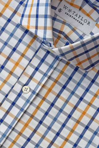 Blue & Sky Windowpane Check Poplin Bespoke Shirt