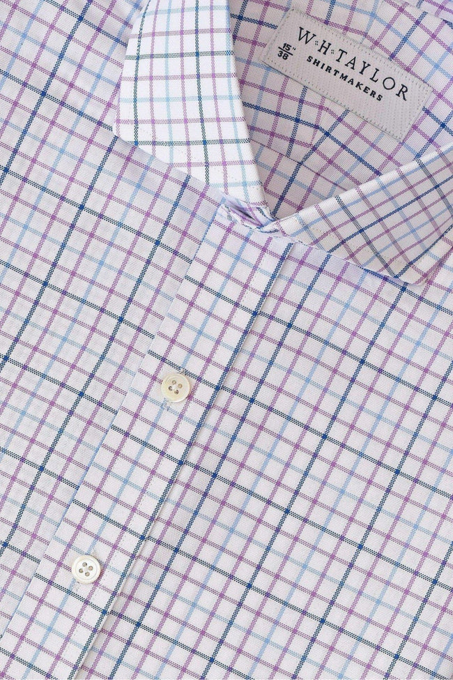 Blue, Navy & Lilac Tattersall Oxford Check Bespoke Shirt-whtshirtmakers.com