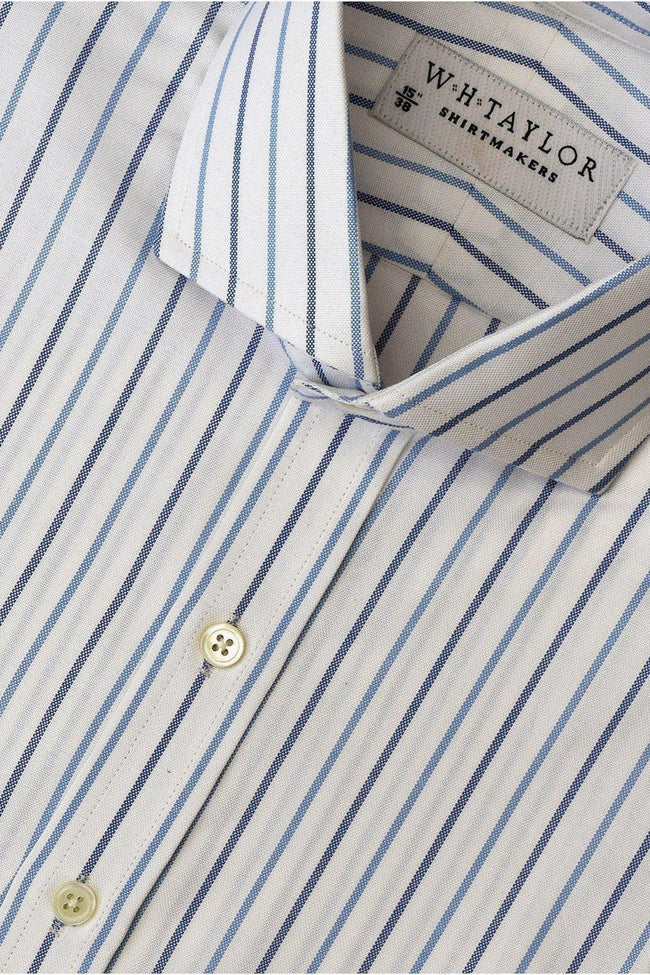 Blue Navy Oxford Alternate Dress Stripe Bespoke Shirt-whtshirtmakers.com