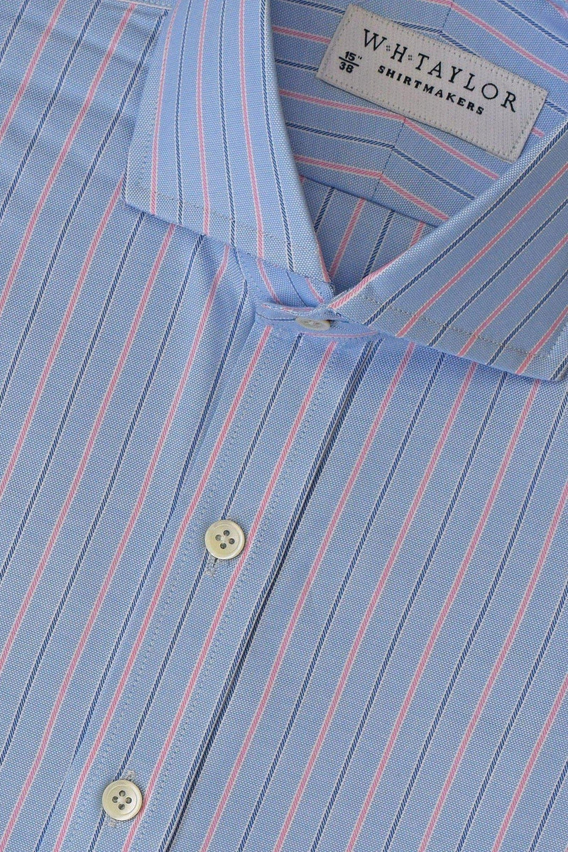 Blue Navy Pin Pink Shadow Stripe Oxford Bespoke Shirt-whtshirtmakers.com