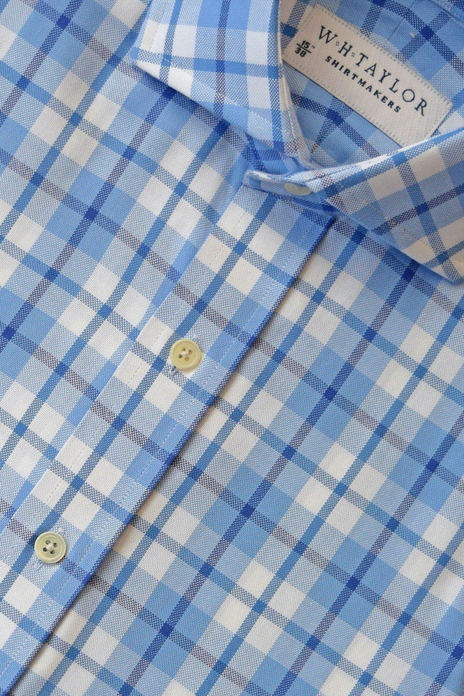 Blue, Navy Plaid Oxford Check Bespoke Shirt-whtshirtmakers.com