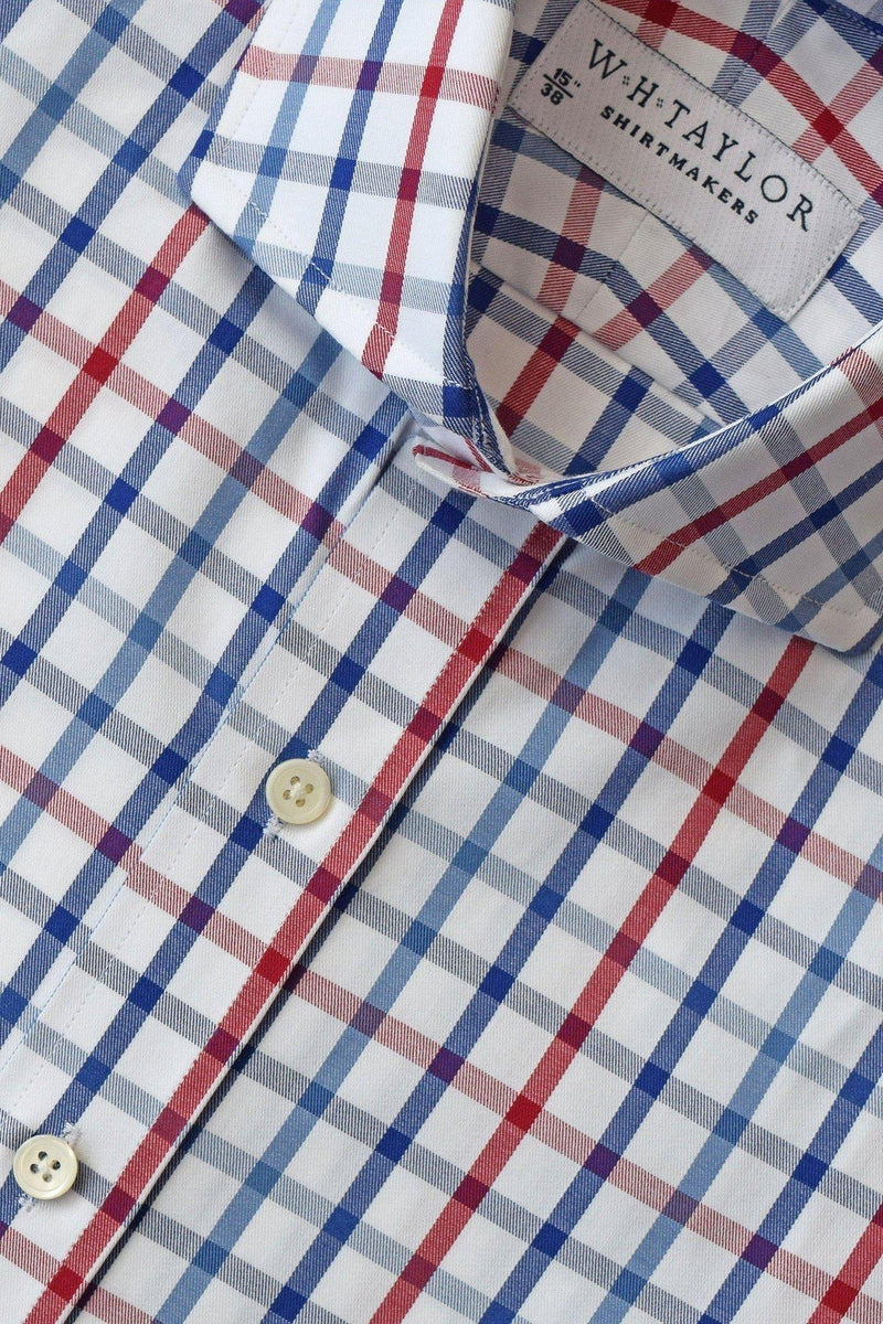 whtshirtmakers.com Bespoke Blue, Navy & Red Twill Country Plaid Check Shirt