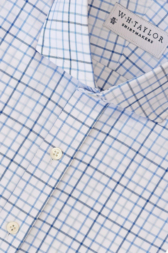 Blue, Navy & Sky Tattersall Oxford Check Bespoke Shirt-whtshirtmakers.com