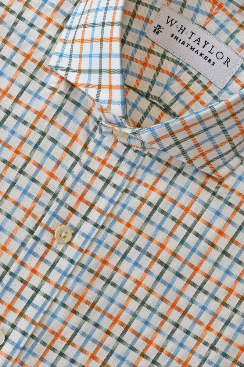 Blue Orange Tattersall Twill Check Bespoke Shirt-whtshirtmakers.com