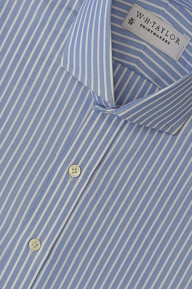 Blue Oxford White Dress Stripe Bespoke Shirt-whtshirtmakers.com