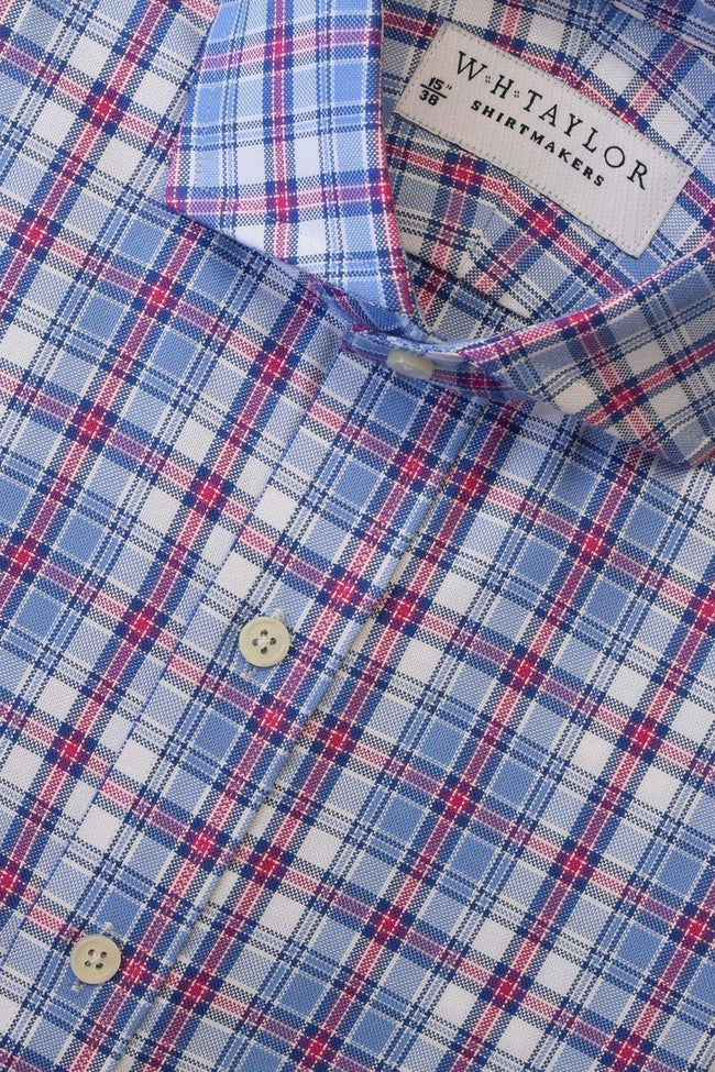 Blue, Pink Plaid Twill Check Bespoke Shirt-whtshirtmakers.com