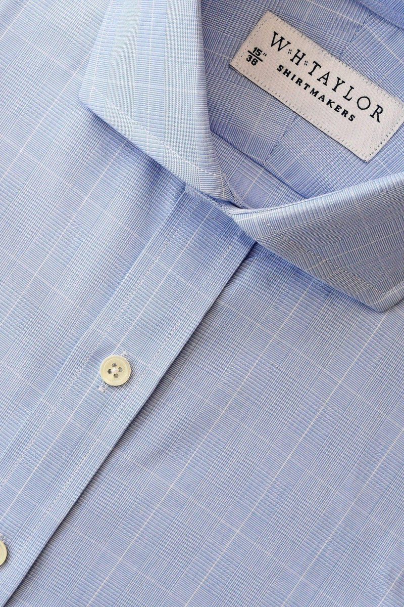 Blue Prince of Wales Plaid Check Poplin Bespoke Shirt-whtshirtmakers.com