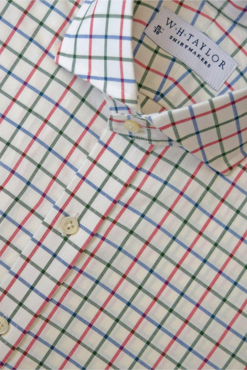Blue Red Forest Green Tattersall Twill Check Bespoke Shirt-whtshirtmakers.com
