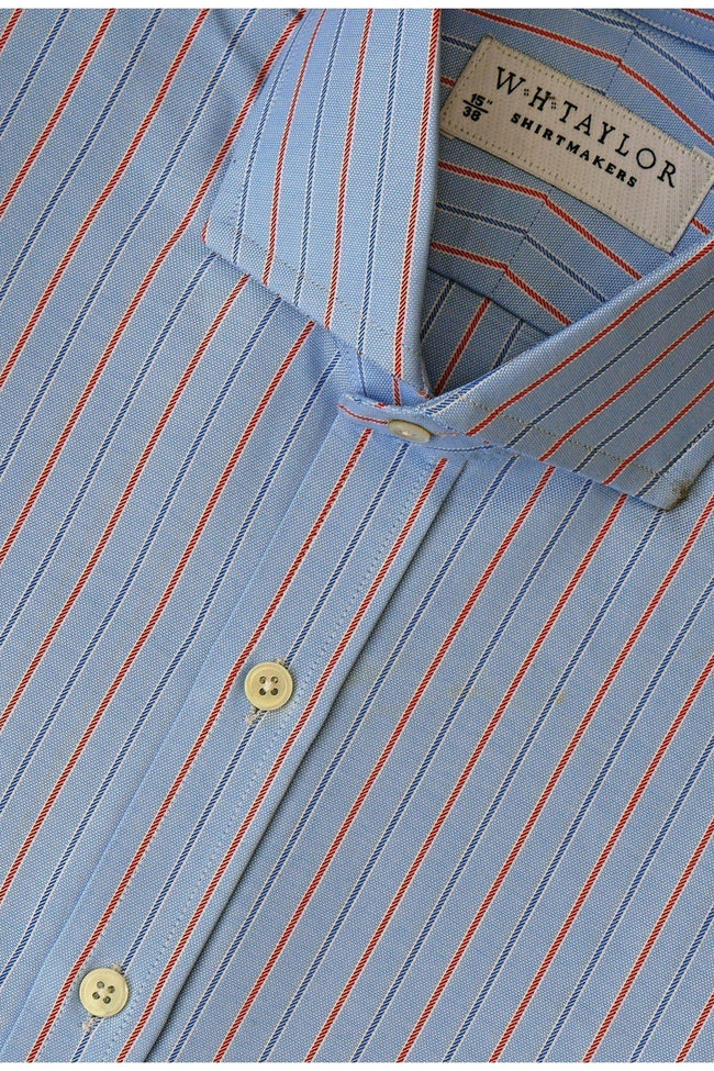 whtshirtmakers.com Bespoke Blue, Red Pinstripe & Navy Pipe Oxford Stripe Shirt