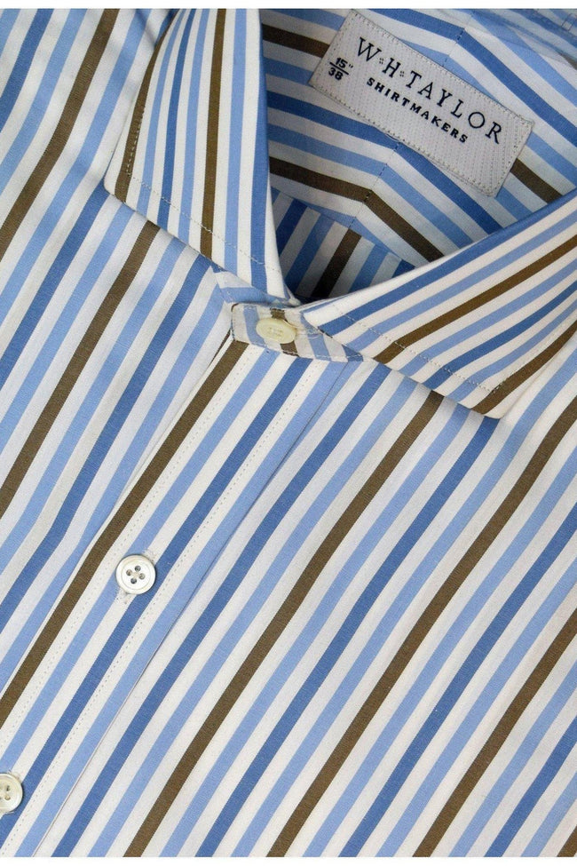 Blue, Sky, Brown Large Candy Stripe Poplin Bespoke Shirt-whtshirtmakers.com