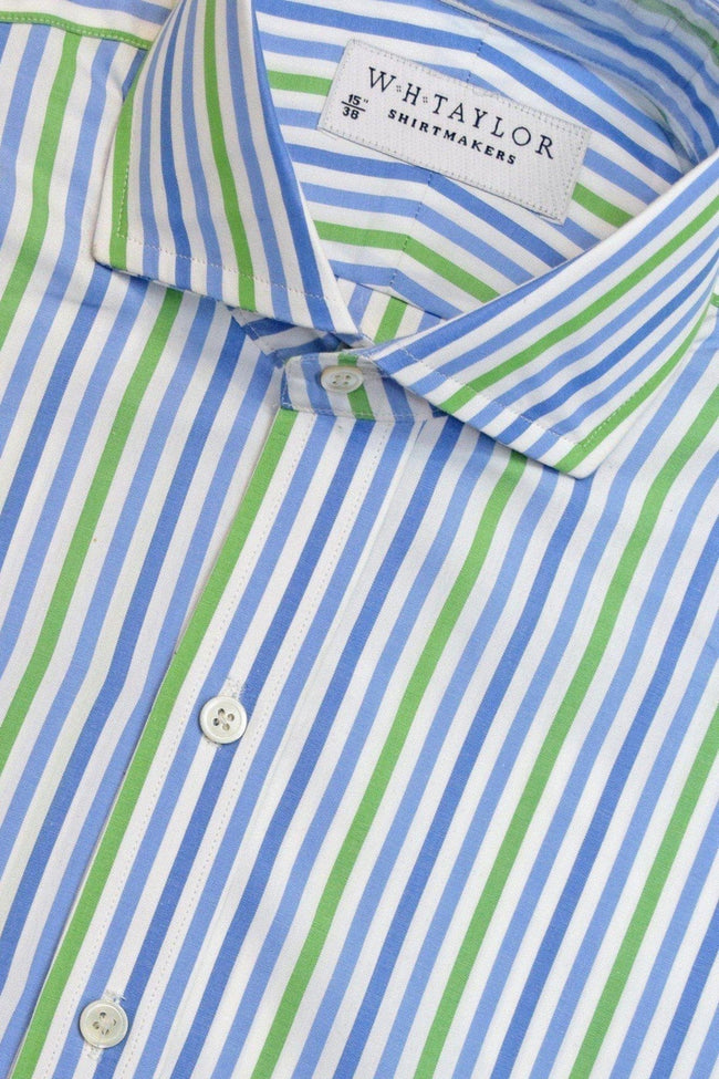 Blue, Sky, Green Large Candy Stripe Poplin Bespoke Shirt-whtshirtmakers.com