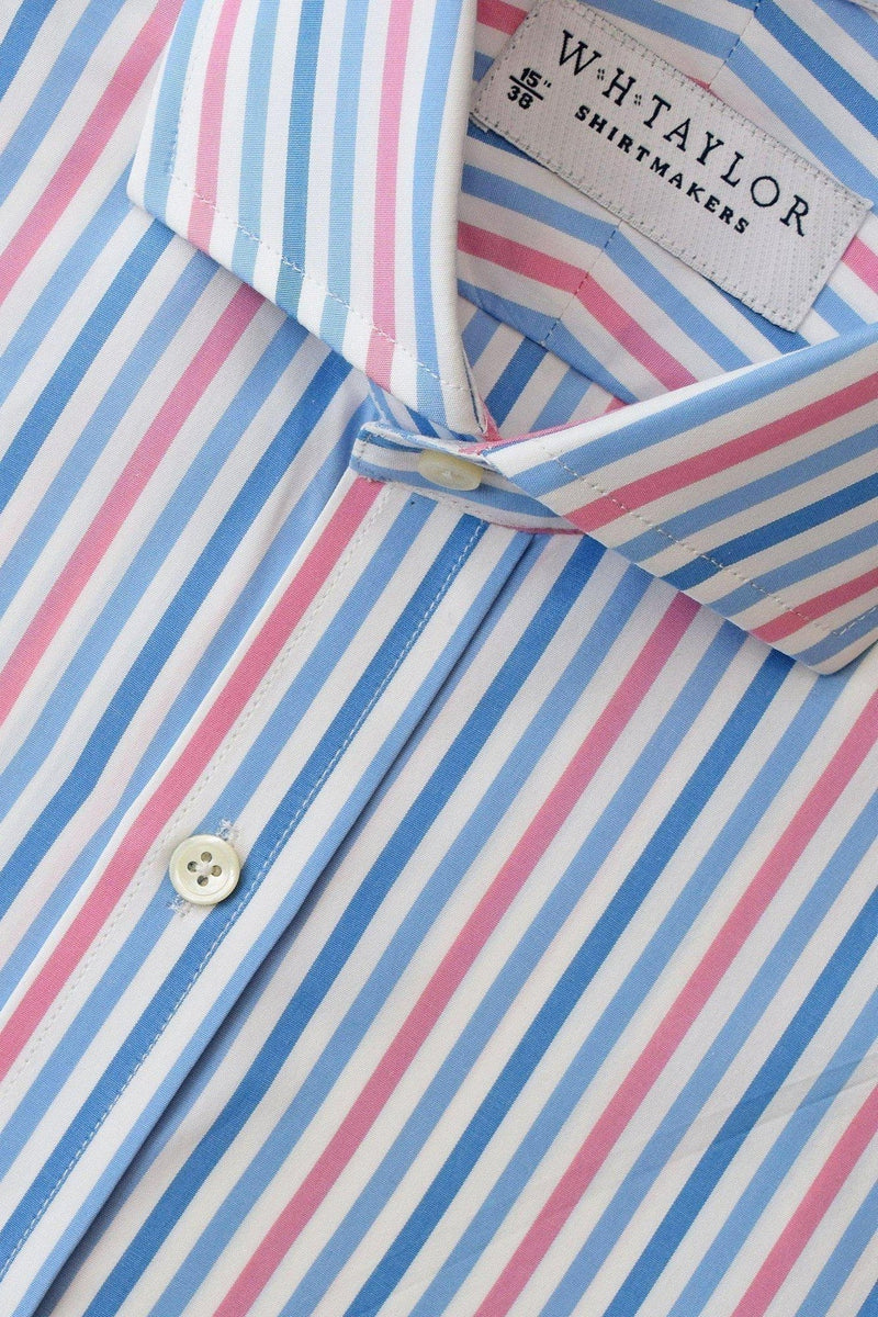 whtshirtmakers.com Bespoke Blue, Sky, Pink Large Candy Stripe Poplin Shirt