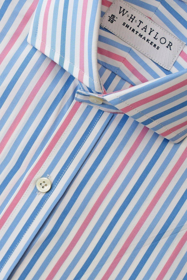 Blue, Sky, Pink Large Candy Stripe Poplin Bespoke Shirt-whtshirtmakers.com