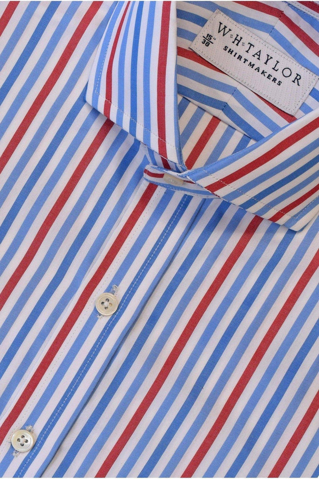 whtshirtmakers.com Bespoke Blue, Sky, Red Large Candy Stripe Poplin Shirt