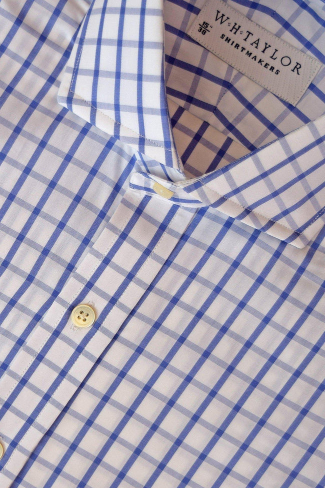 Blue & Sky Windowpane Check Poplin Bespoke Shirt-whtshirtmakers.com