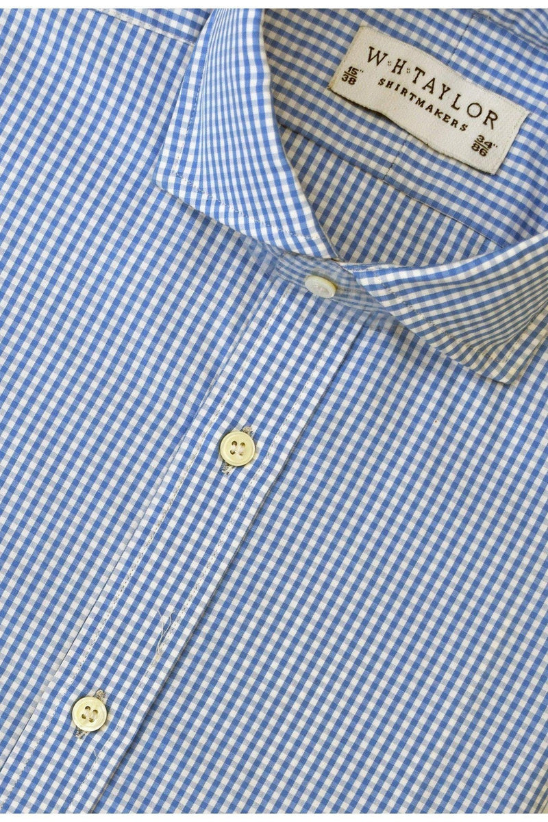 Blue Small Gingham Check Poplin Bespoke Shirt-whtshirtmakers.com