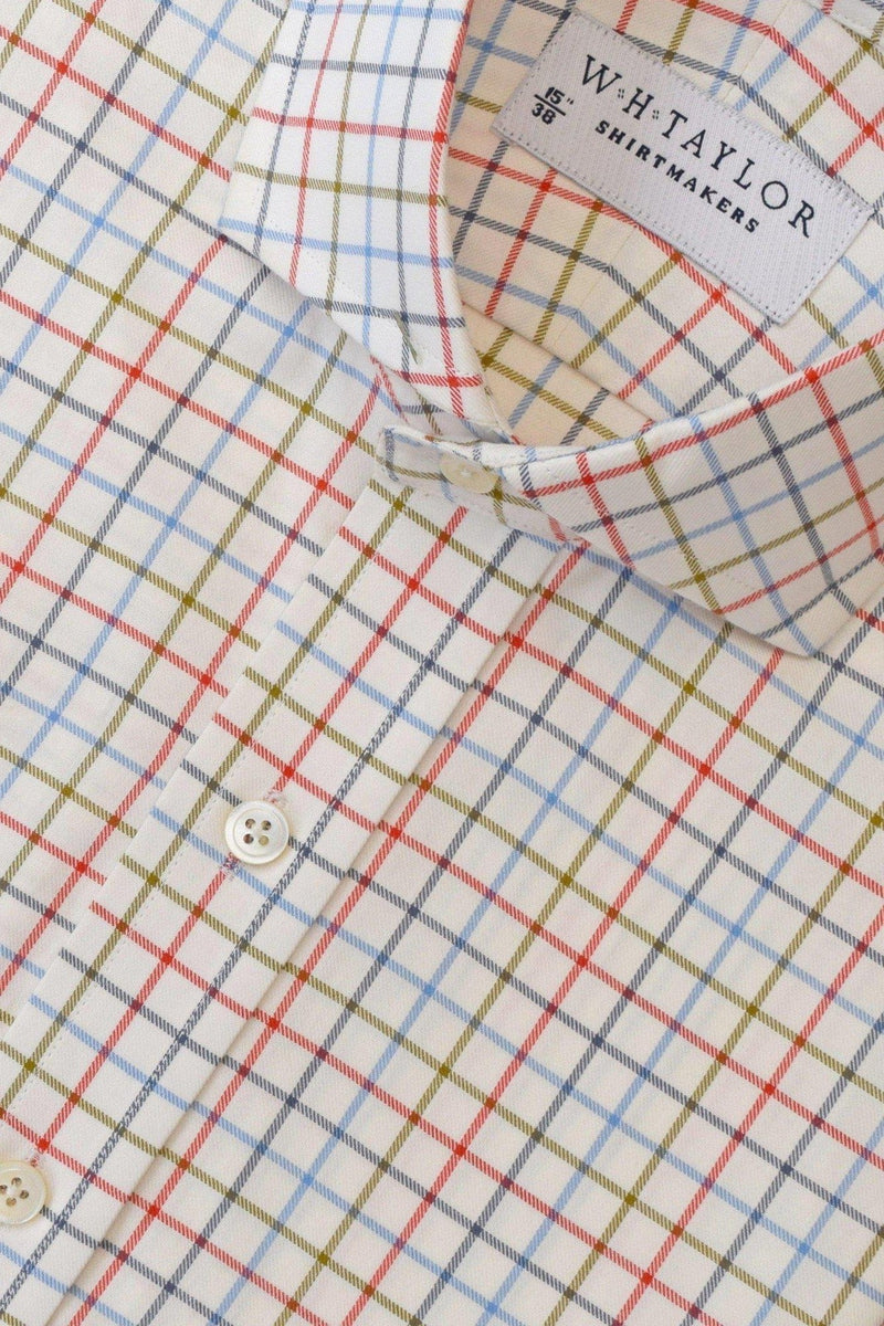 Blue Tan Tattersall Twill Check Bespoke Shirt-whtshirtmakers.com