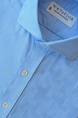 White & Blue Spotted Bespoke Shirt