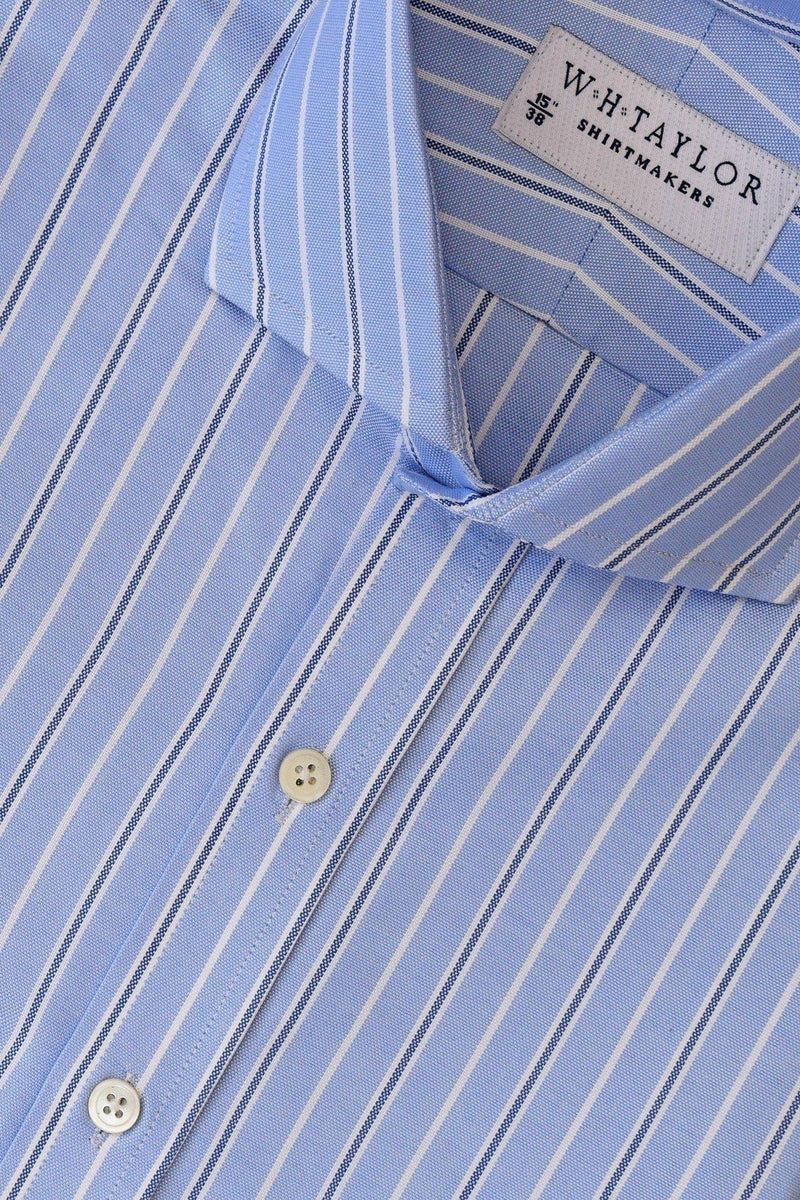 Blue, White & Navy Pinstripe Oxford Stripe Bespoke Shirt-whtshirtmakers.com