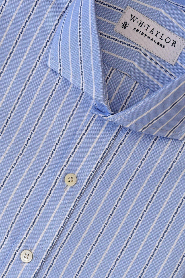 whtshirtmakers.com Bespoke Blue, White & Navy Pinstripe Oxford Stripe Shirt