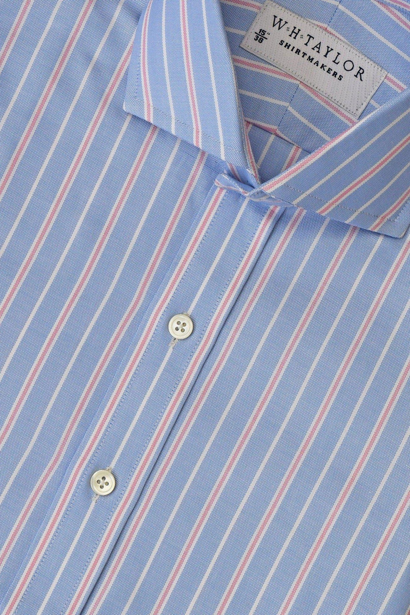 Blue, White Pin Pink Shadow Stripe Oxford Bespoke Shirt-whtshirtmakers.com