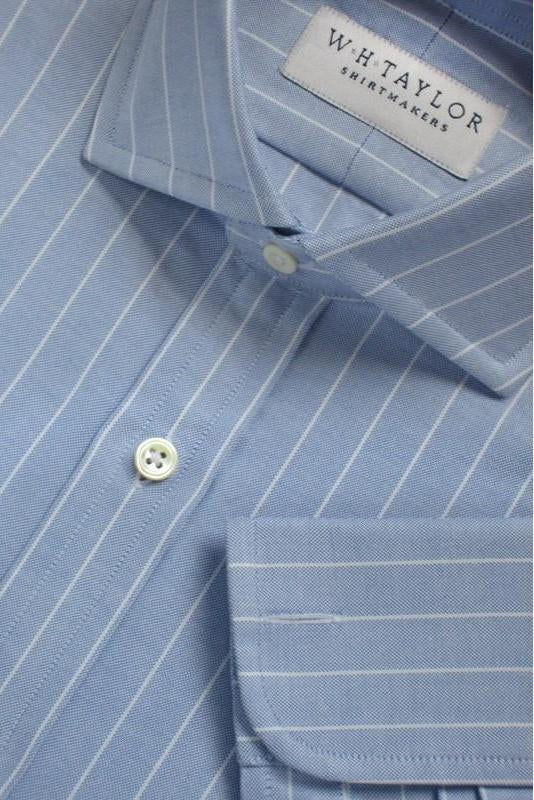 Blue White Pinstripe Oxford Stripe Bespoke Shirt-whtshirtmakers.com