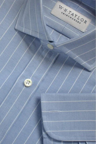 Sky, White Pinstripe & Navy Pipe Oxford Stripe Bespoke Shirt