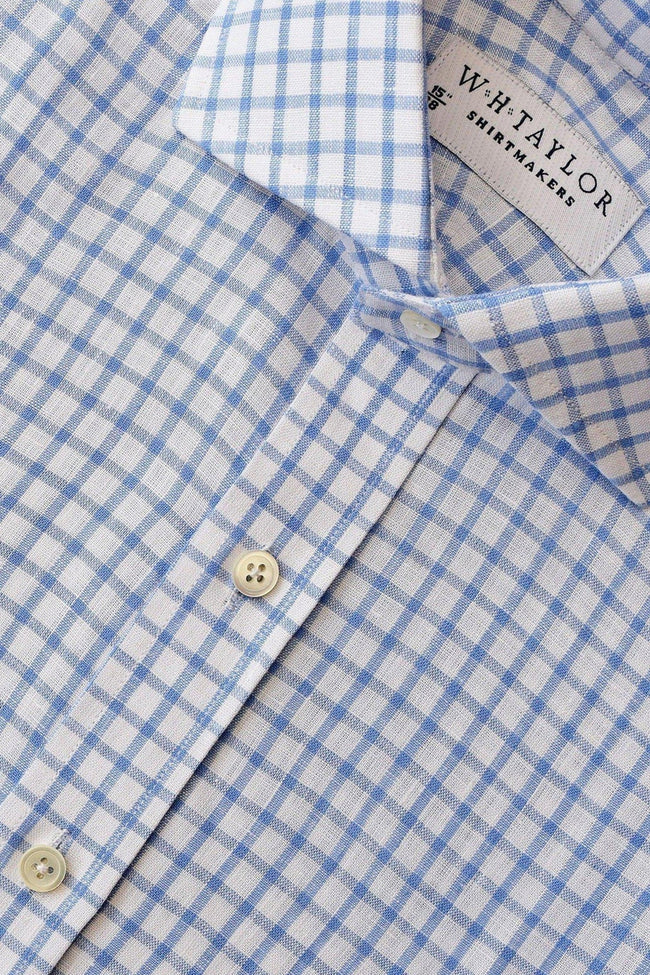 Blue Windowpane Check Linen Bespoke Shirt-whtshirtmakers.com