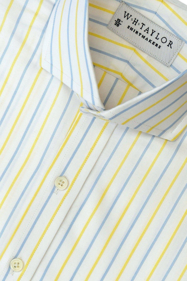 Blue Yellow Oxford Alternate Dress Stripe Bespoke Shirt-whtshirtmakers.com