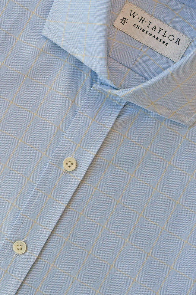 Blue Prince of Wales & Yellow Plaid Check Poplin Bespoke Shirt-whtshirtmakers.com