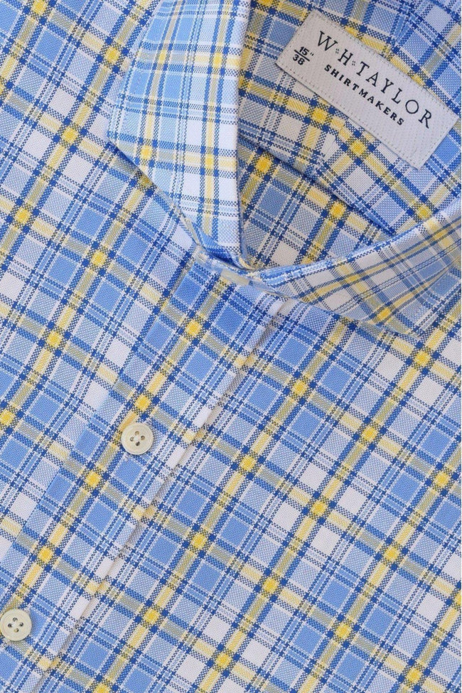 Blue, Yellow Plaid Twill Check Bespoke Shirt-whtshirtmakers.com