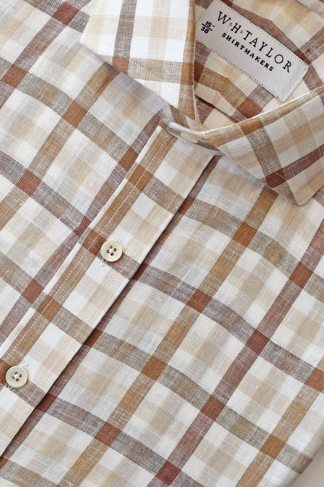 Brown Multiple Check Linen Bespoke Shirt-whtshirtmakers.com