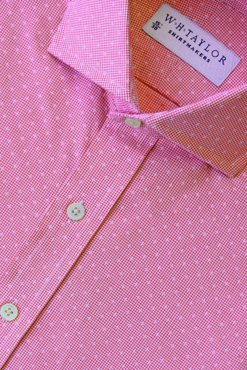 Cerise Crossed Shepherd Check Bespoke Shirt-whtshirtmakers.com