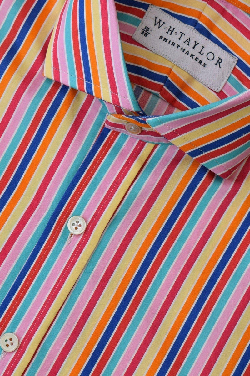 Compact Cotton Multi Coloured Candy Stripe Bespoke Shirt-whtshirtmakers.com