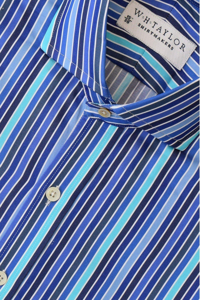 Compact Cotton Tonal Blue Stripe Bespoke Shirt-whtshirtmakers.com