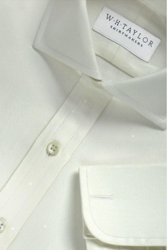 Cream Lined Twill Cotton Bespoke Shirt-whtshirtmakers.com
