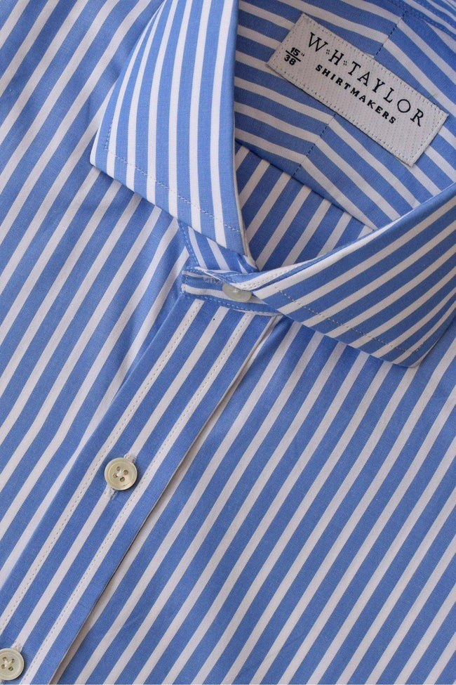 whtshirtmakers.com Bespoke Large Blue Stripe White Wide Pinstripe Poplin Shirt