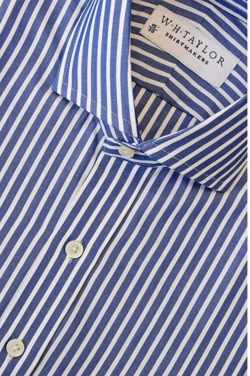 Large Navy Stripe White Wide Pinstripe Poplin Bespoke Shirt-whtshirtmakers.com