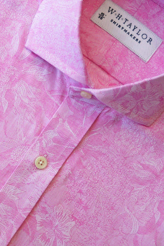 Pink Puppy Houndstooth Check Bespoke Shirt