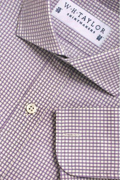 Lilac Mini Check Bespoke Shirt-whtshirtmakers.com