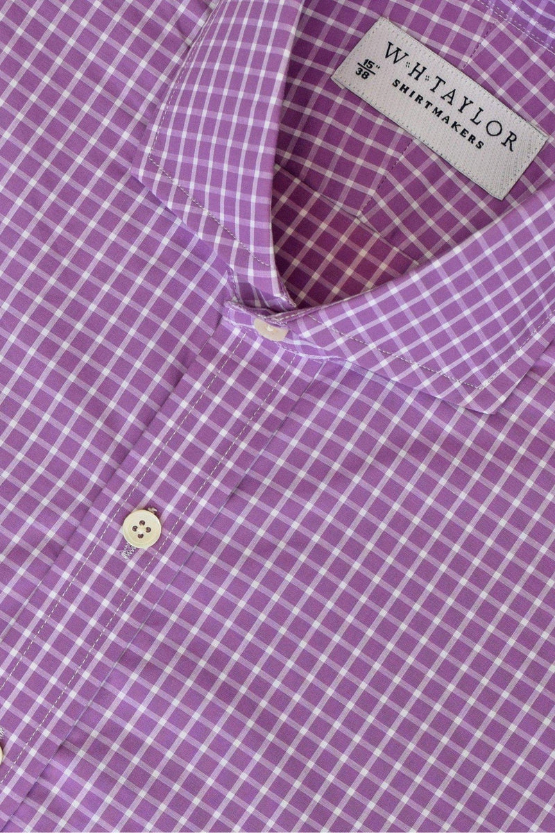 Lilac & White Windowpane Check Bespoke Shirt-whtshirtmakers.com