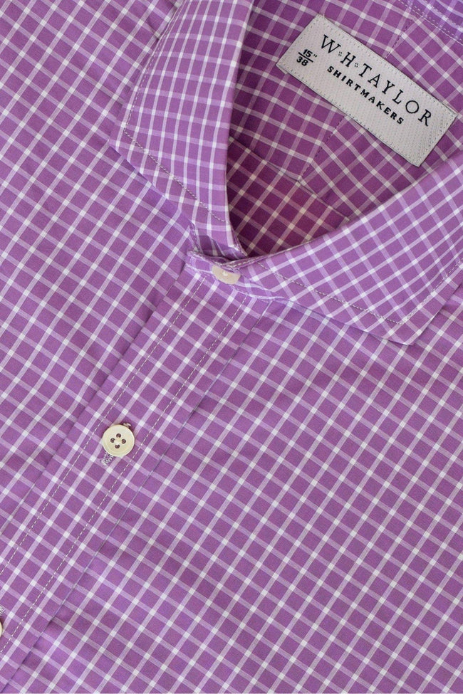 whtshirtmakers.com Bespoke Lilac & White Windowpane Check Shirt