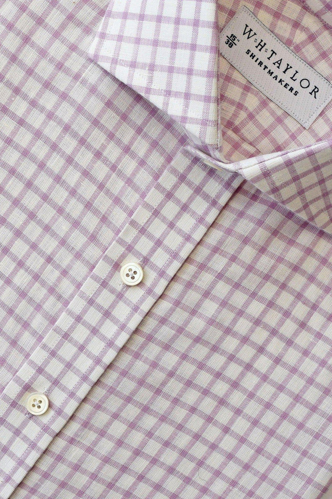 whtshirtmakers.com Bespoke Lilac Windowpane Check Linen Shirt