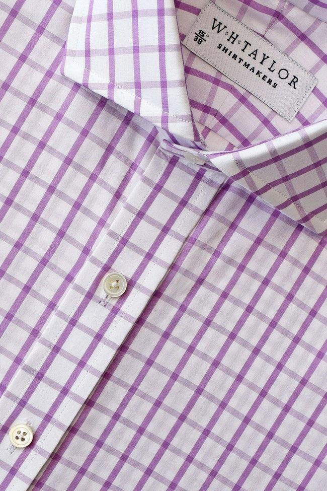 Lilac Windowpane Check Poplin Bespoke Shirt-whtshirtmakers.com