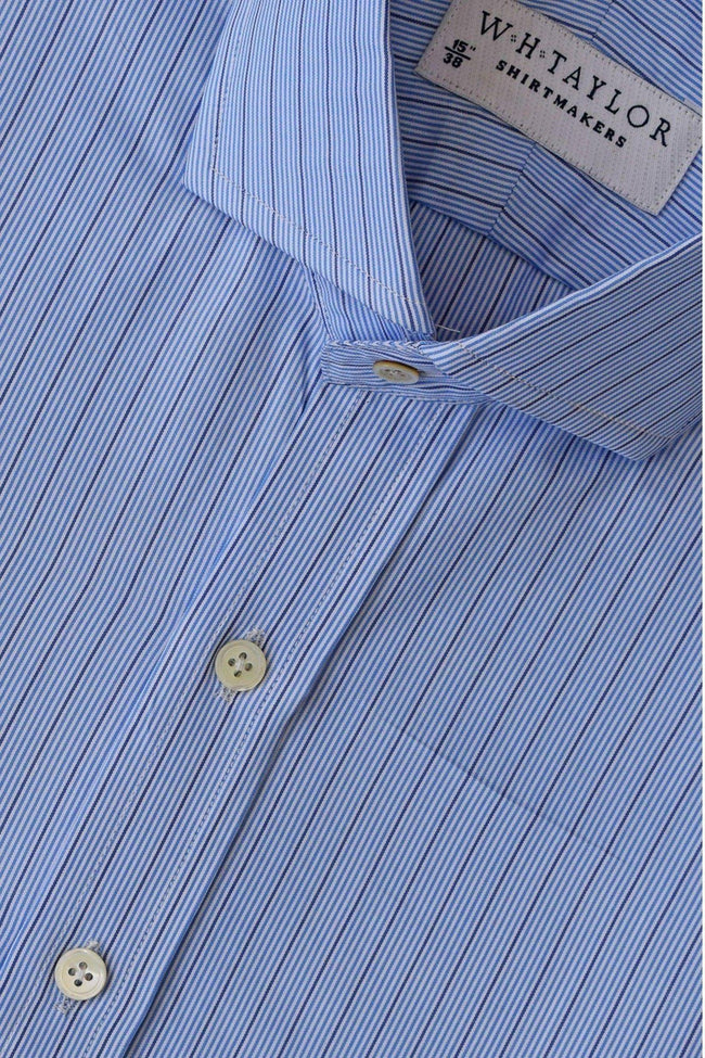 Multi Blue & Navy Hairline Stripe Poplin Bespoke Shirt-whtshirtmakers.com