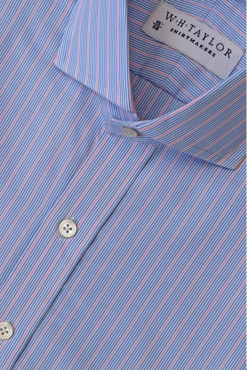 Multi Blue & Pink Hairline Stripe Poplin Bespoke Shirt-whtshirtmakers.com