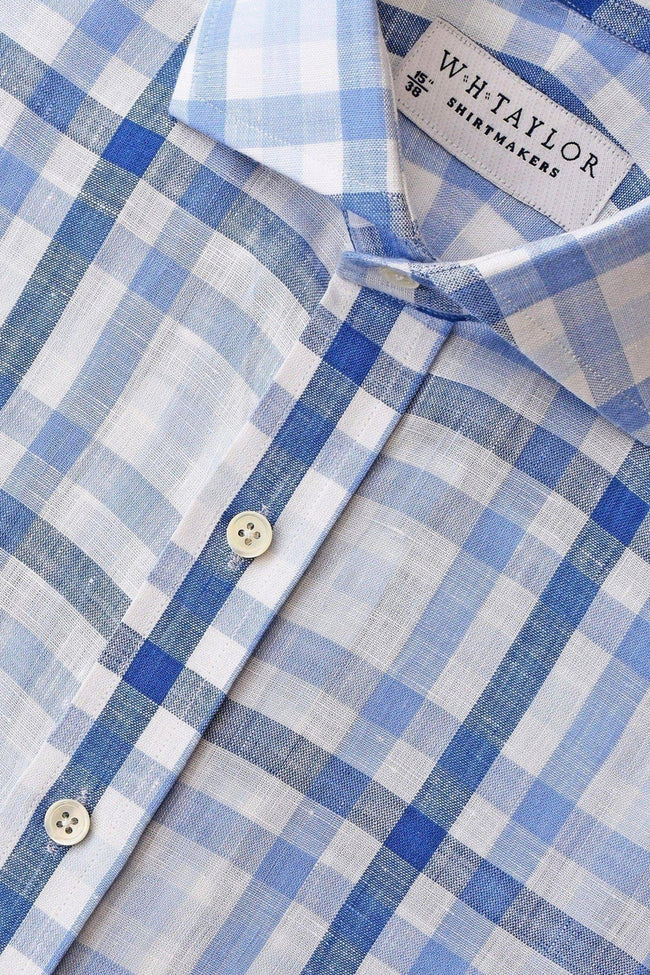 Multiple Blue Check Linen Bespoke Shirt-whtshirtmakers.com