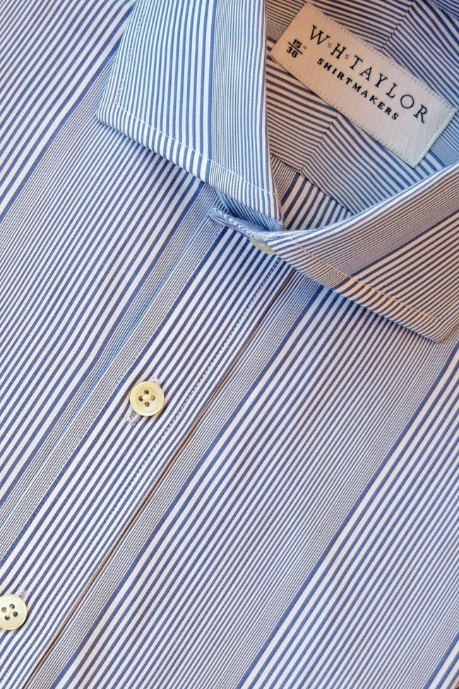 whtshirtmakers.com Bespoke Navy Bar code Stripe Poplin Shirt