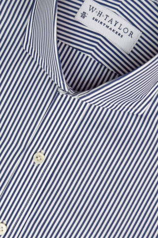 Blue White Pinstripe Oxford Stripe Bespoke Shirt