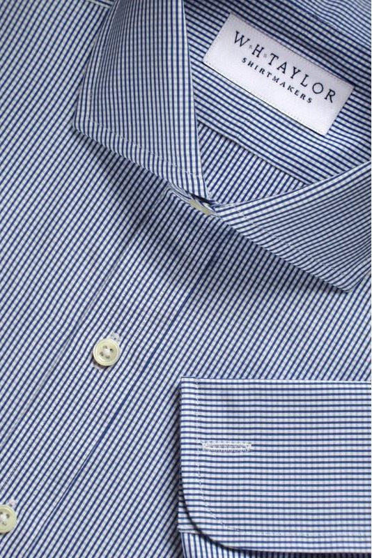 Navy Blue Shepherds Check Poplin Bespoke Shirt-whtshirtmakers.com